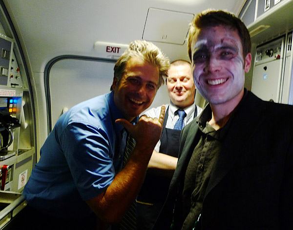 Taylor Davidson, with airplane staff on the second flight