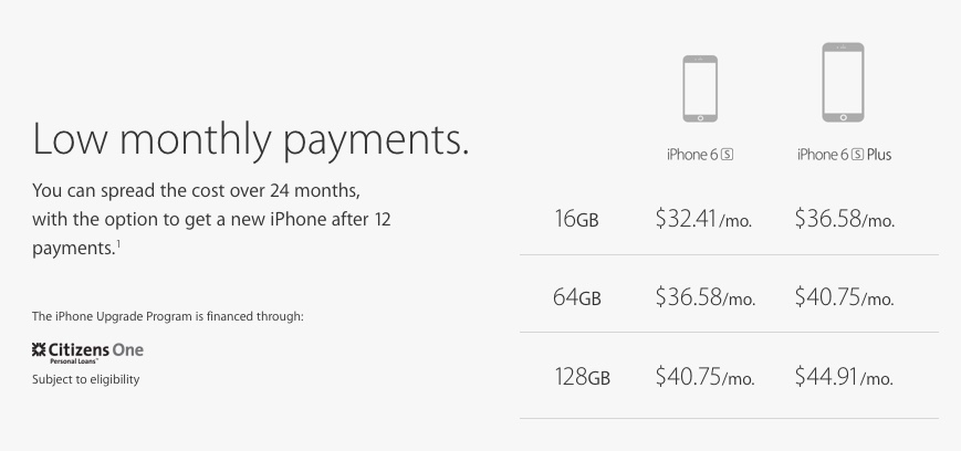 Apple iPhone Upgrade Program monthly pricing
